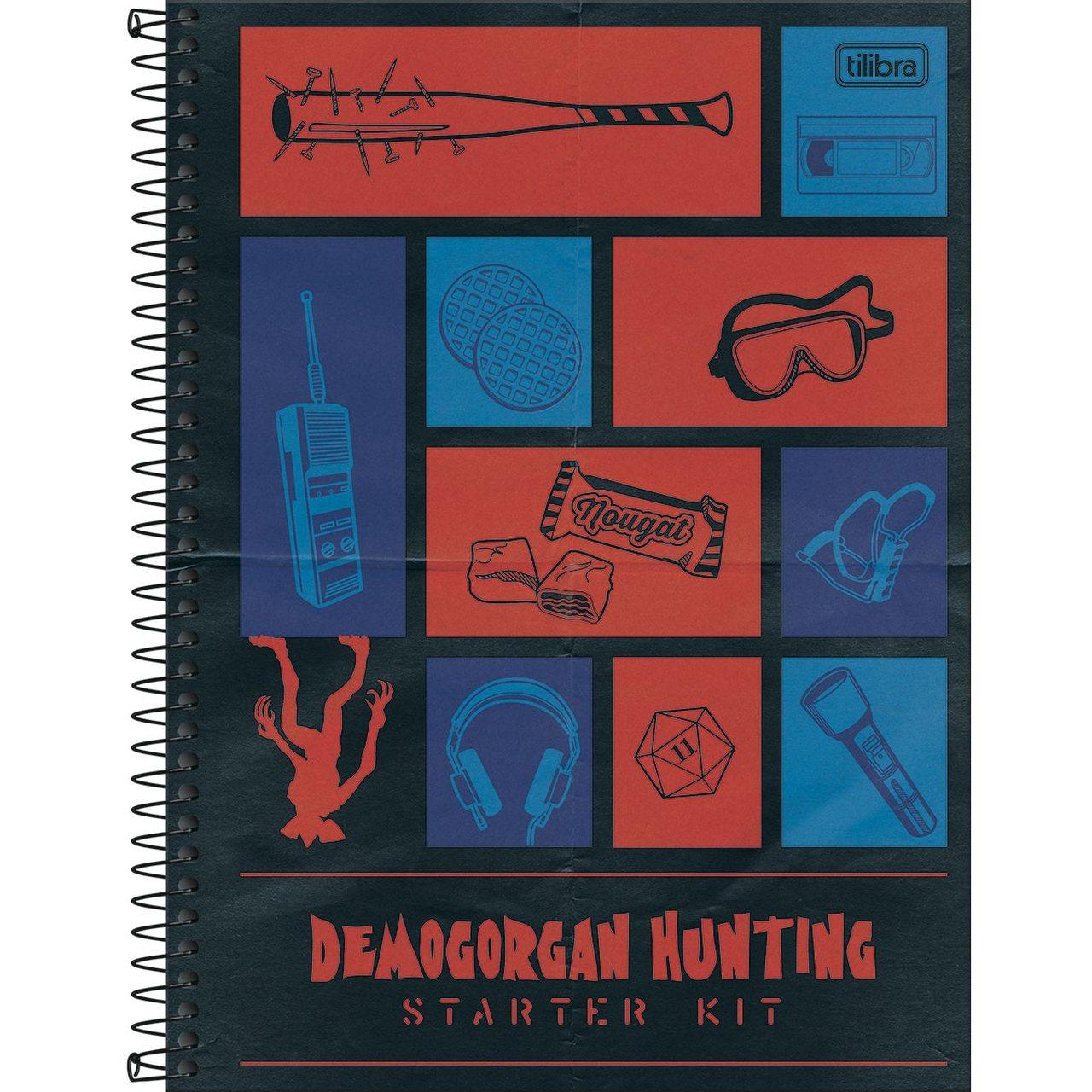 Caderno Espiral Capa Dura Universitário 10 Matérias Stranger Things Demogorgan Hunting 160 Folhas