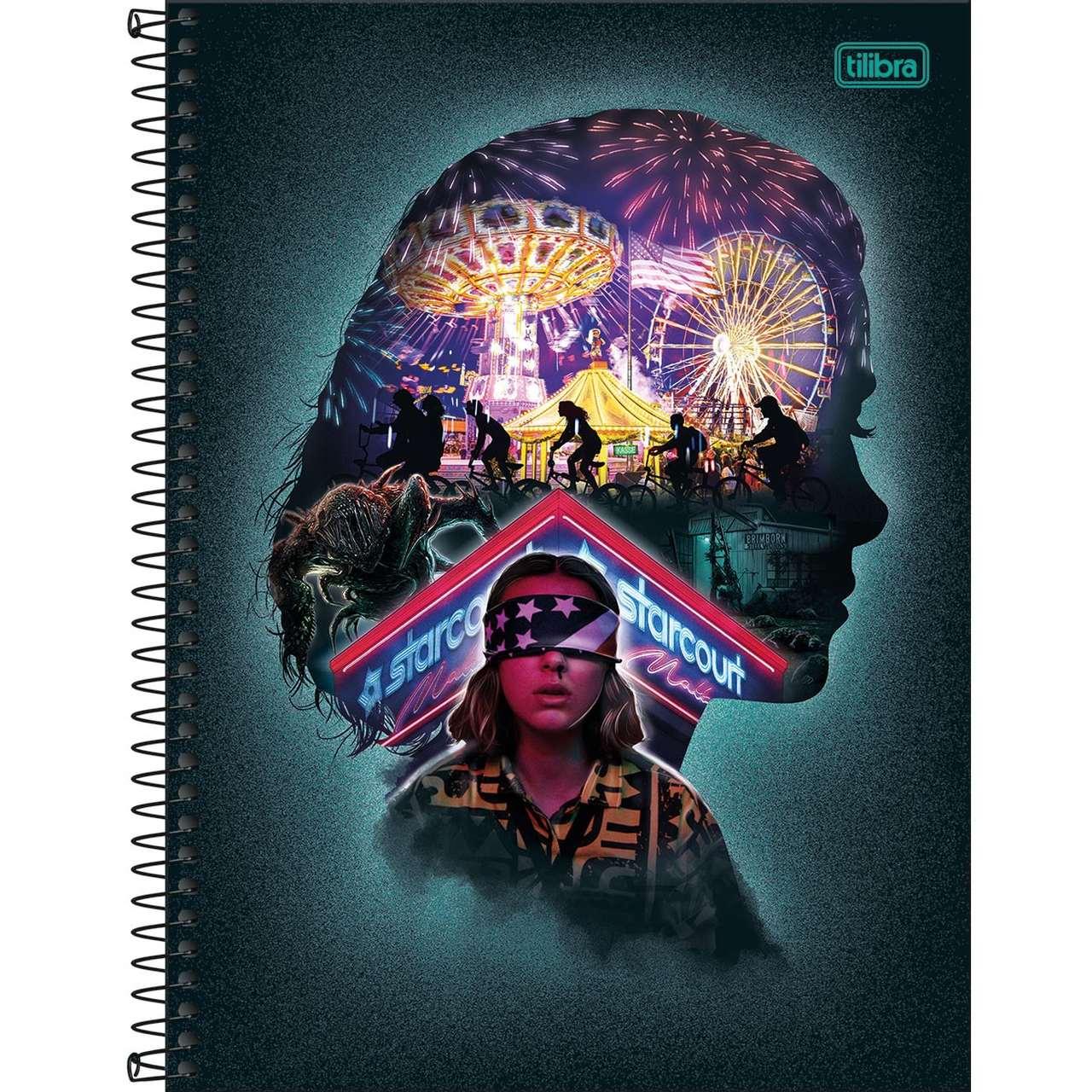 Caderno Espiral Capa Dura Universitário 10 Matérias Stranger Things Eleven 160 Folhas