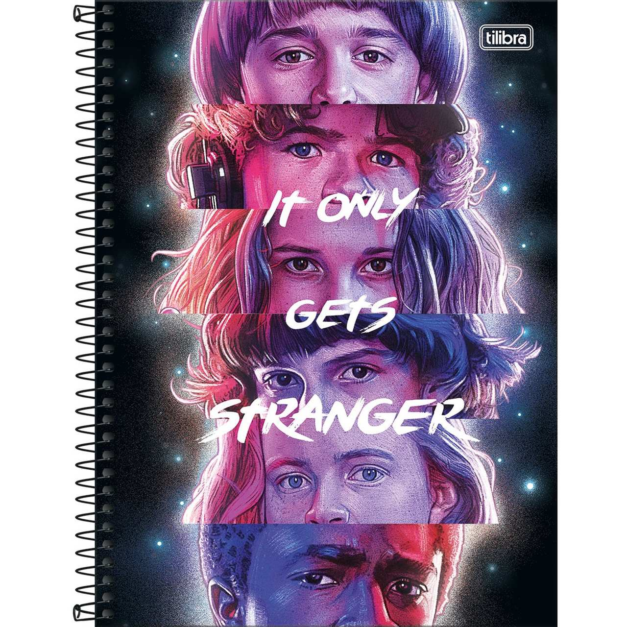 Caderno Espiral Capa Dura Universitário 10 Matérias Stranger Things It Only Get Stranger 160 Folhas