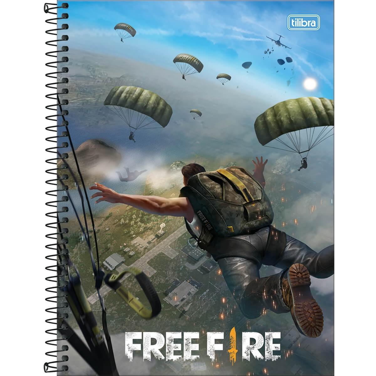 Caderno Espiral Capa Dura Universitário 16 Matérias Free Fire 256 Folhas