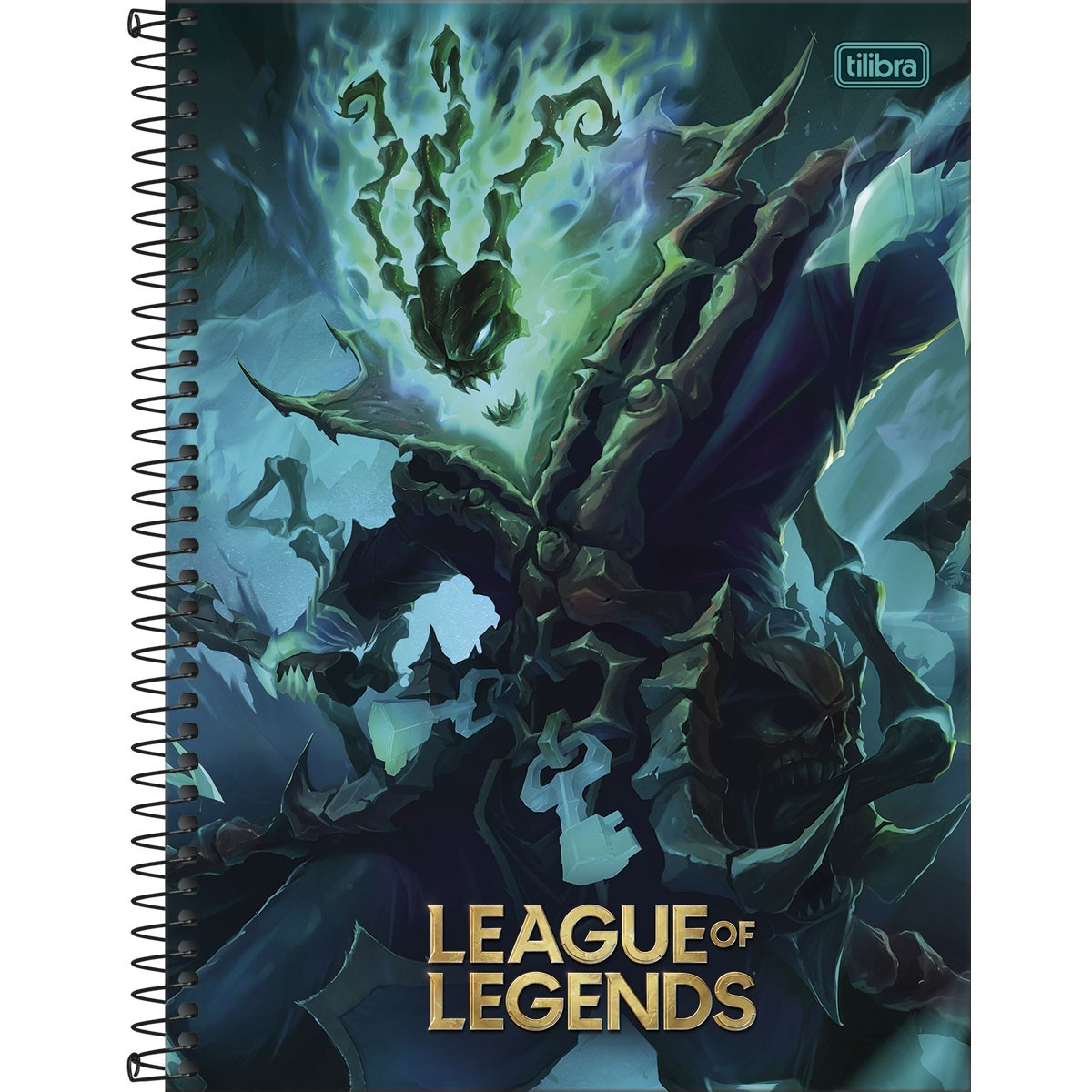 Caderno Espiral Capa Dura Universitário 16 Matérias League of Legends Tresh 256 Folhas