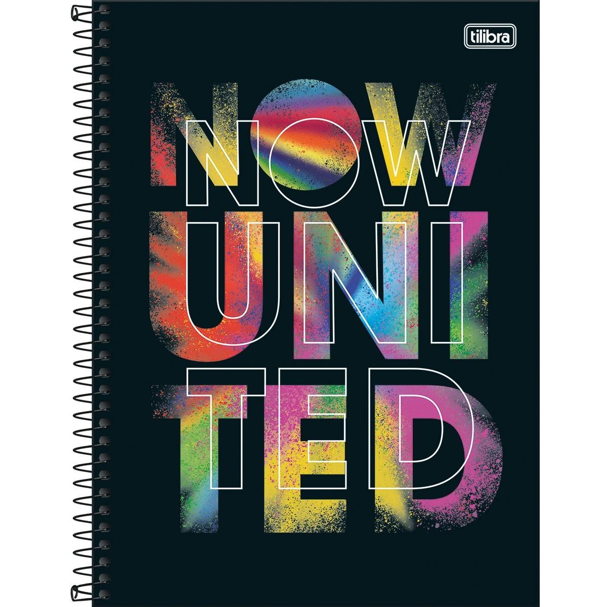 Caderno Espiral Capa Dura Universitário 16 Matérias Now United 256 Folhas