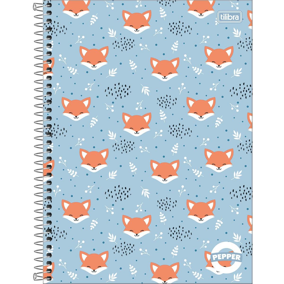 Caderno Espiral Capa Dura Universitário 1 Matéria Pepper Feminino 80 Folhas - Sortido
