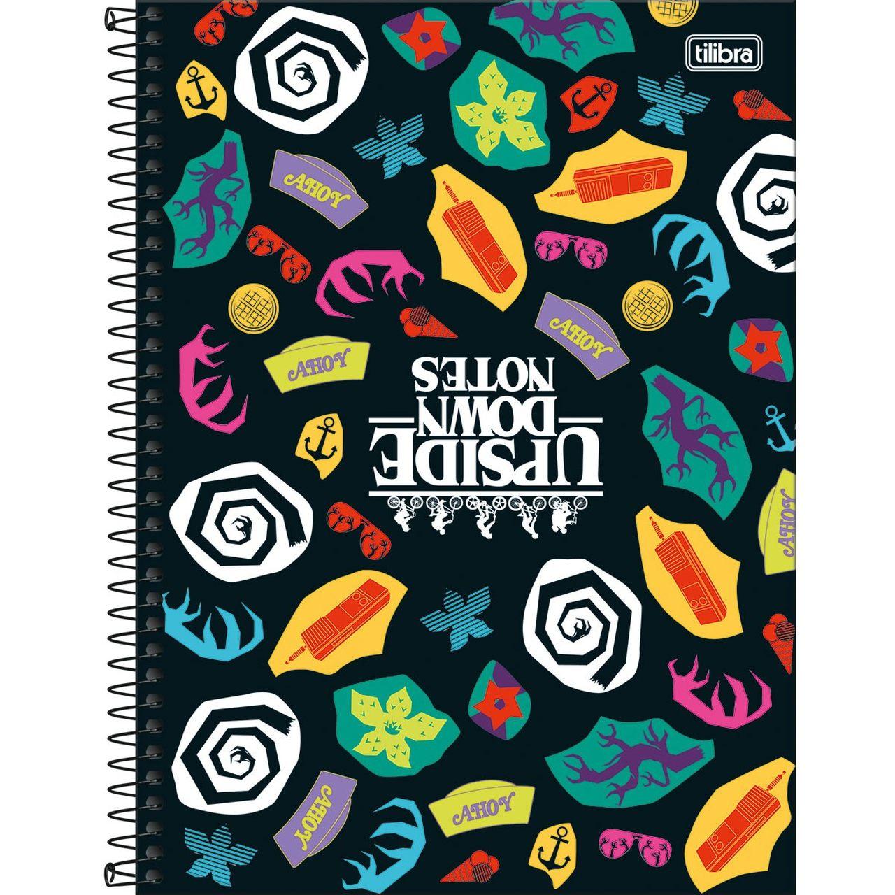 Caderno Espiral Capa Dura Universitário 20 Matéria Stranger Things Upside Down Notes 320 Folhas
