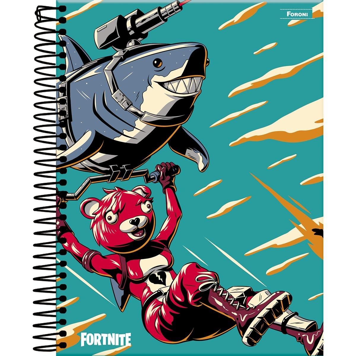 Caderno Fortnite Tubarão 80fls - Foroni