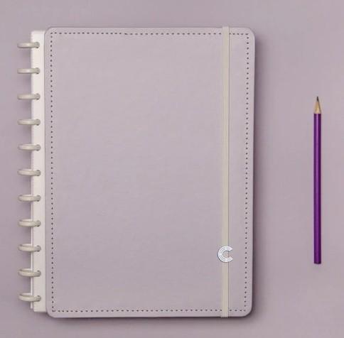 Caderno Lilás Pastel Grande - Caderno Inteligente