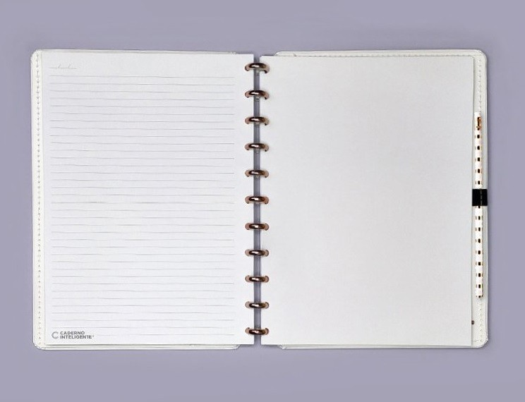 Caderno medio All White - Caderno Inteligente