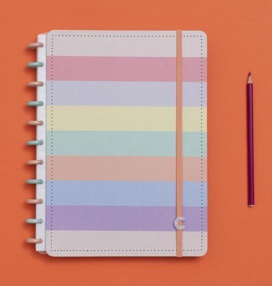 Caderno médio Arco-Íris - Caderno Inteligente