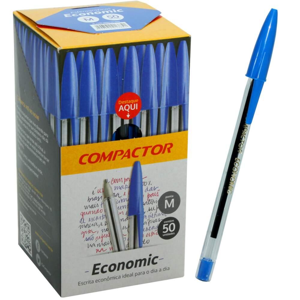 Caixa Caneta Azul Compactor Economic Fina C/50