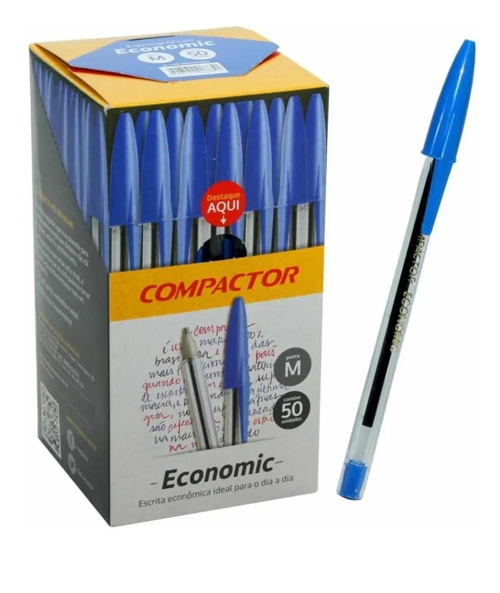 Caixa Caneta Azul Esferográfica Compactor Economic 50und