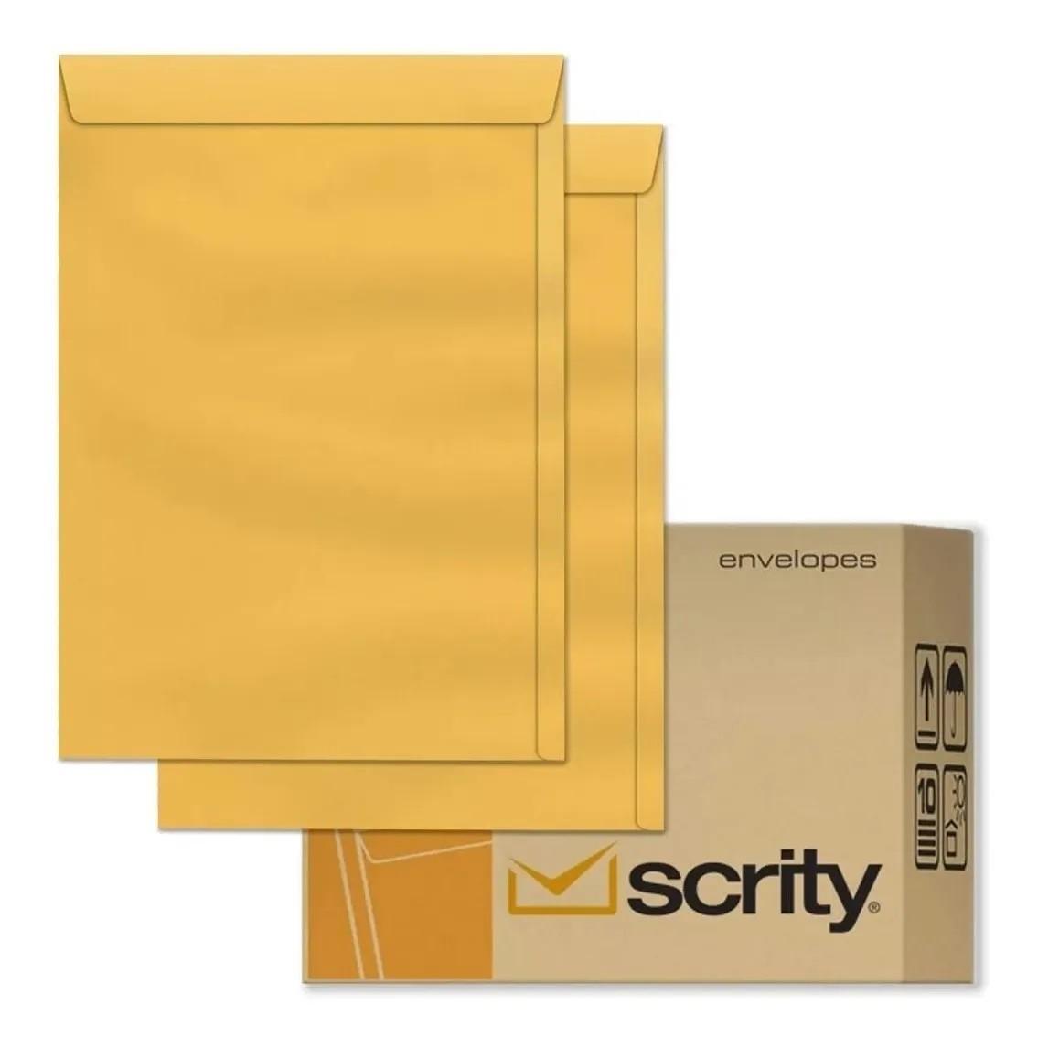 Caixa Envelope A4 Amarelo Ouro 229x324 250 unidades - Scrity