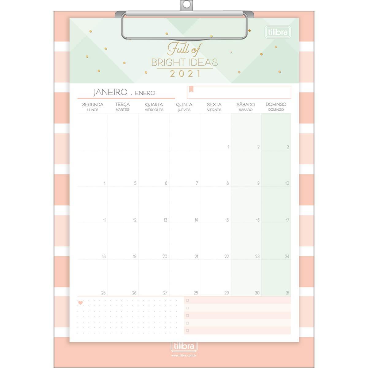 Calendário Planner Prancheta Soho 2021