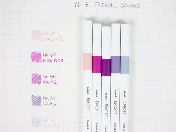 Caneta Esferográfica N°7 Floral Colors - Uni