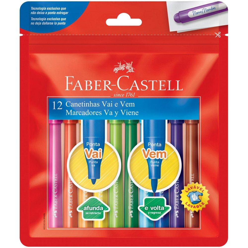 Caneta hidrográfica 12 cores ponta vai e vem - Faber-Castell