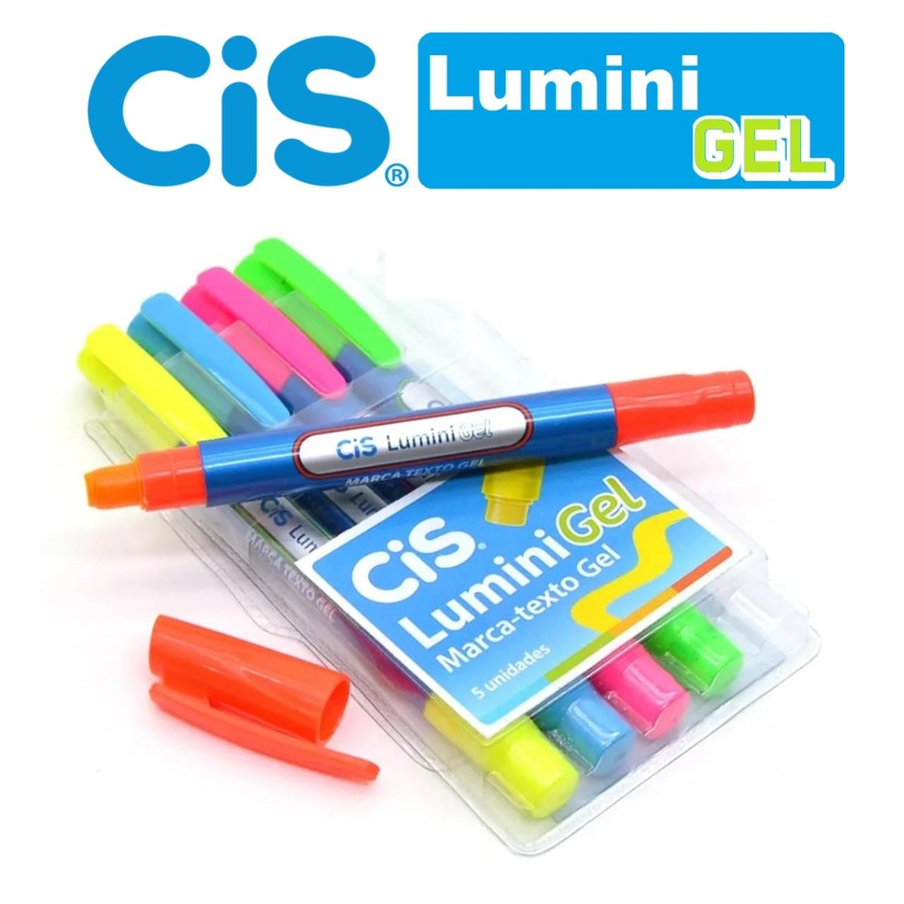 Caneta Marca Texto Cis Lumini Gel - Kit Com 5 Cores