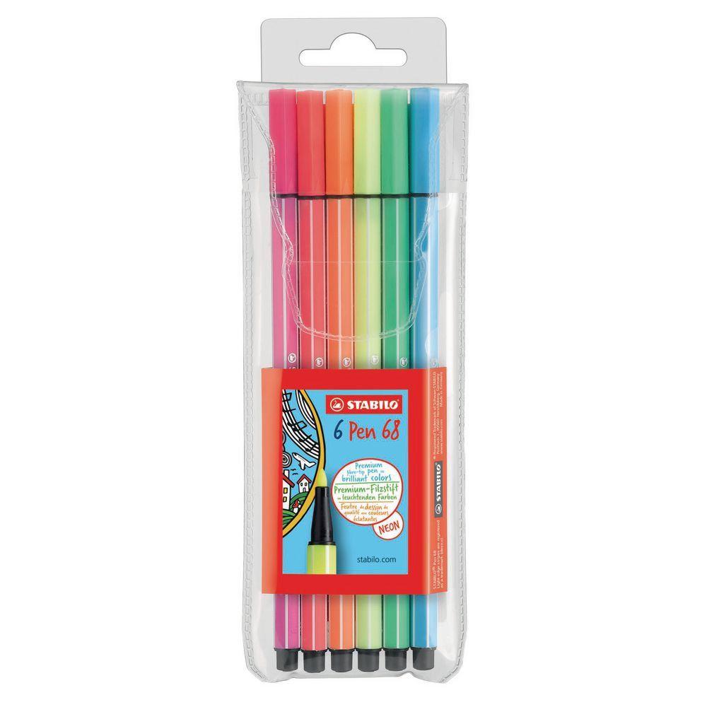 Caneta pen 68 com 6 Cores Neon - Stabilo