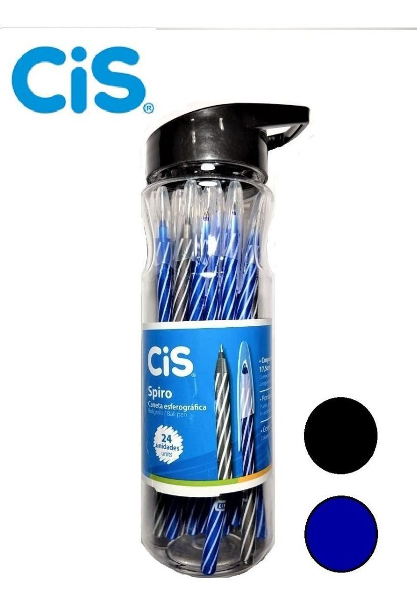 Caneta Spiro 24 Unidades Preta e Azul - Cis