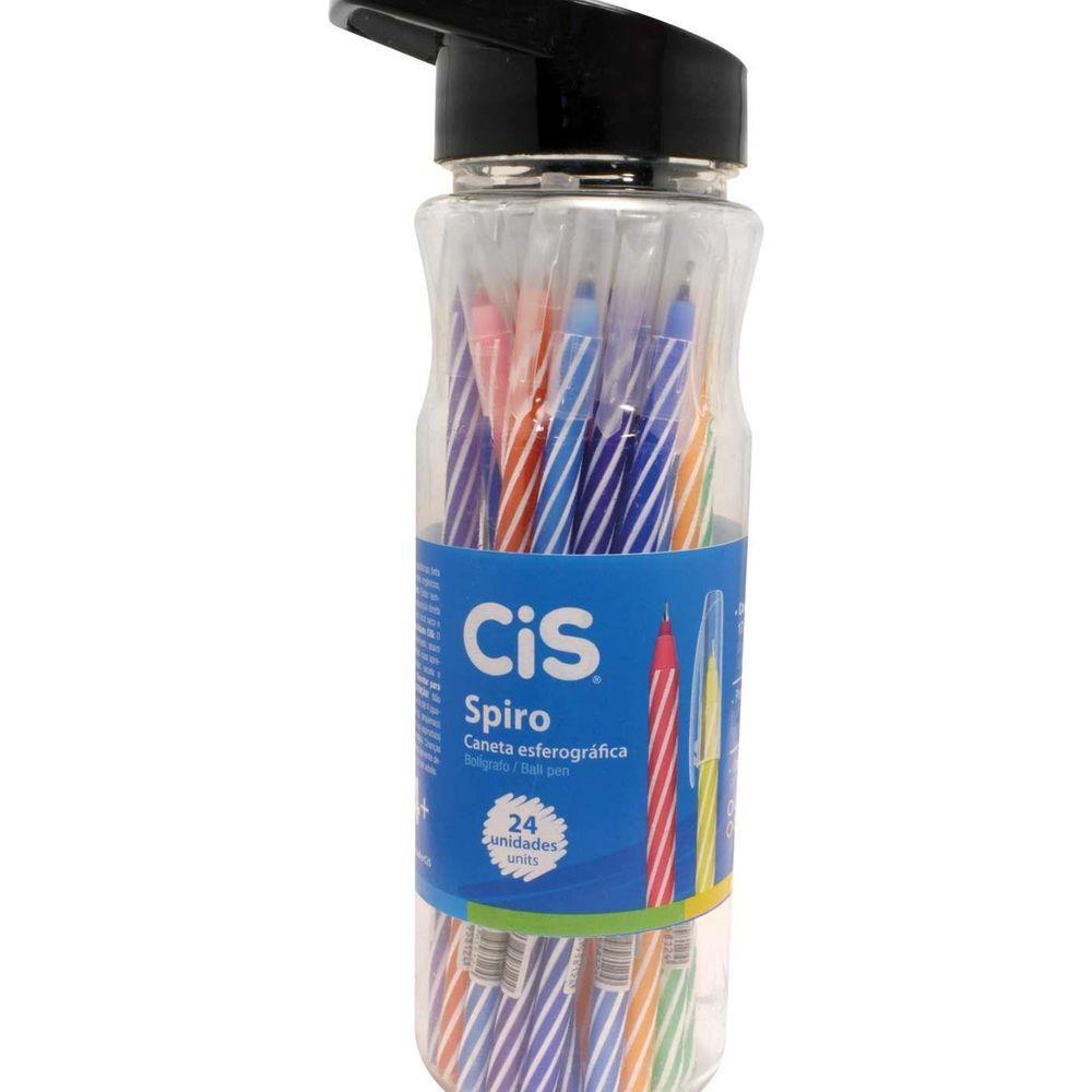 Caneta Spiro Colorida 24 Unidades - Cis