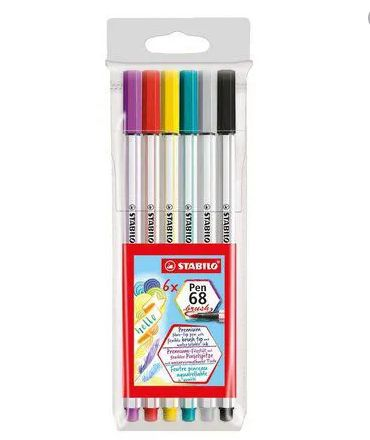 Caneta Stabilo Brush pen 68 Kit c/6 unidades