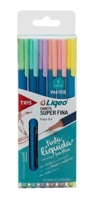 PROMOÇÃO - Caneta Super Final Liqeo 6 cores Pastéis - TRIS