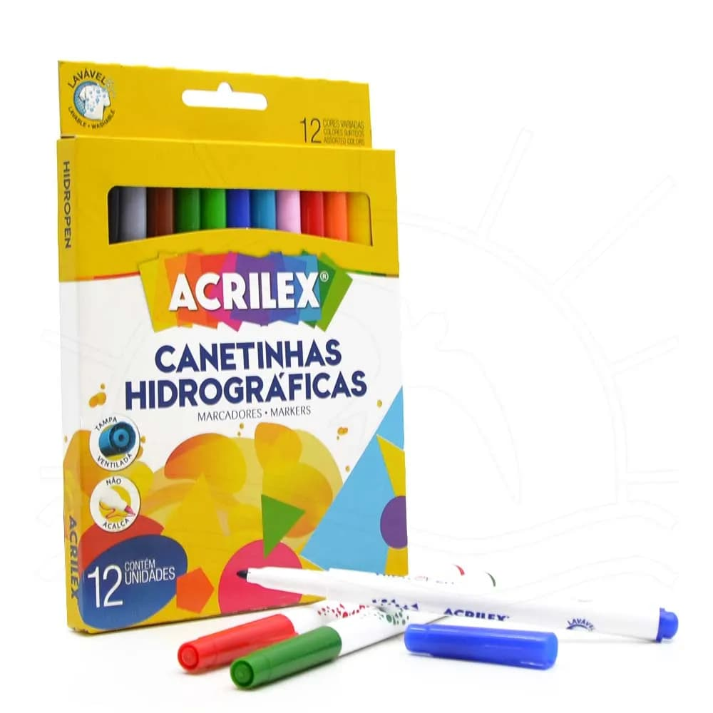 Canetas hidrocor com 12 cores - Acrilex