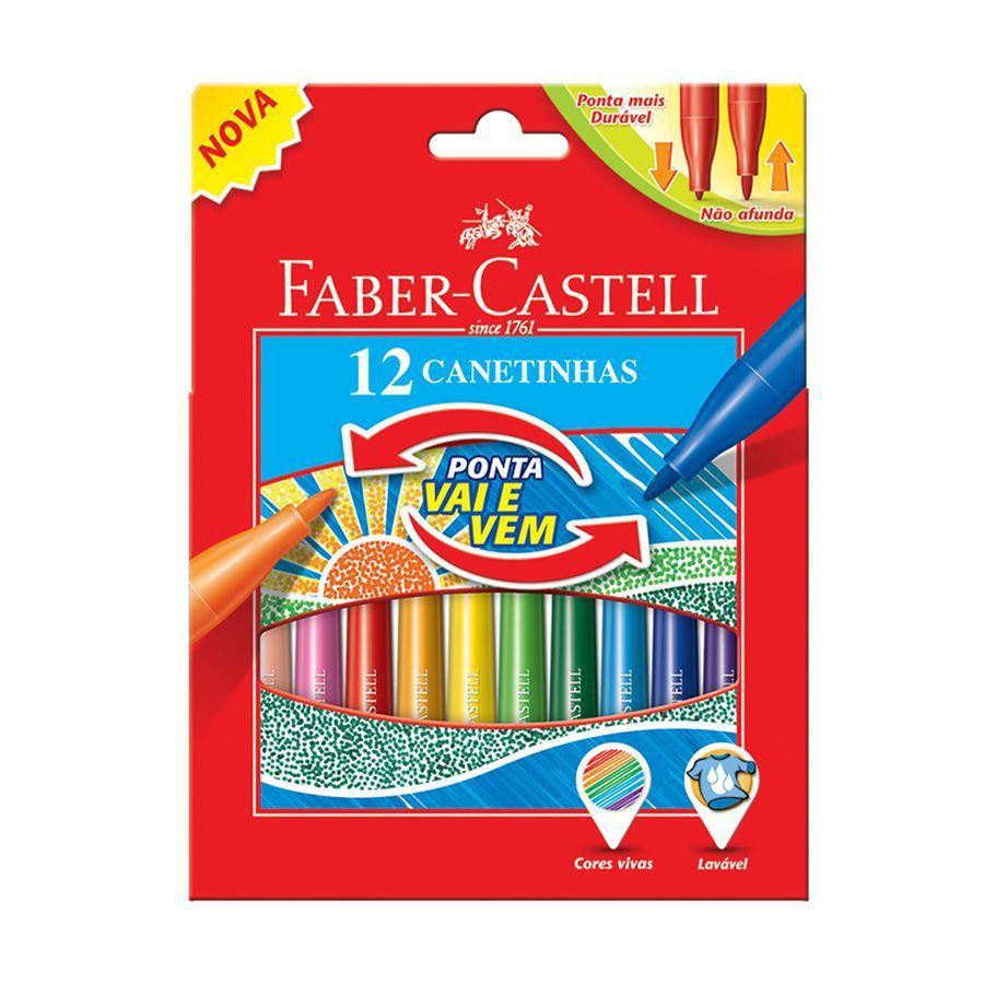 Canetinha Marcadora Ponta Vai em Vem 12 Cores - Faber Castell