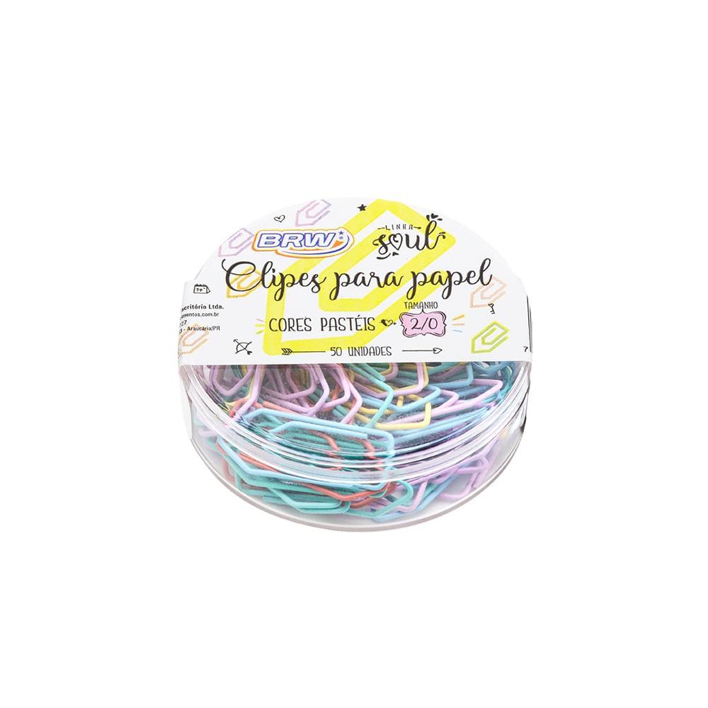 Clipes Para Papel BRW Tamanho 2/0 Cores Pastéis com 50un
