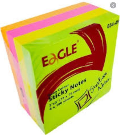 Cubo de Notas adesivas 400fls neon 4cores - eagle 75x75