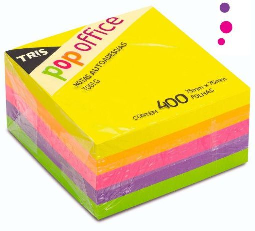 Cubo de Notas adesivas 400fls neon 5cores - TRIS 75x75