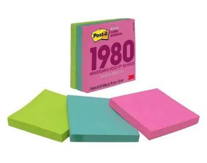 Cubo de Notas adesivas RETRO anos 80 270fls  - 3M 76x76