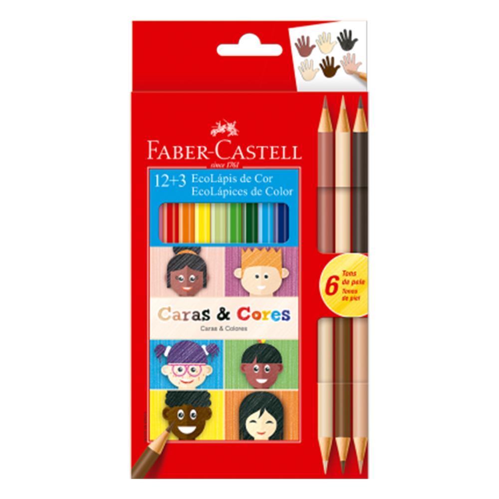 Ecolápis de cor Caras e Cores com 12 Cores + 6 Tons de Pele - Faber Castell