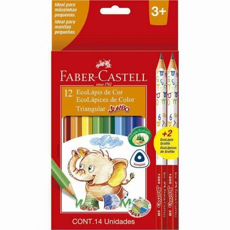 Ecolápis de cor com 14 Unidades Jumbo - Faber Castell