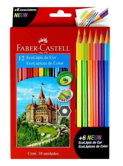 Ecolápis de Cor com 18 Unidades  ( 6 Cores NEONS ) - Faber Castell