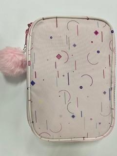 Estojo Box Nylon Feminino Rosa Bebê(formas geométricas)  - Daterra