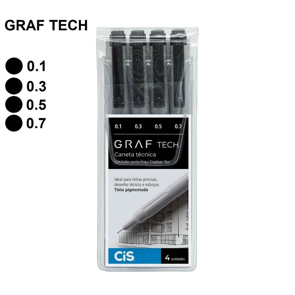 Estojo Caneta Graf Tech Fine Line Cis Com 4 Unidades