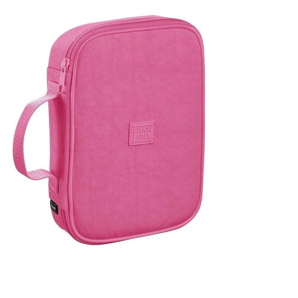 Estojo Escolar Box Rosa Fluor Soft 100 Lapis Com Alca Foroni