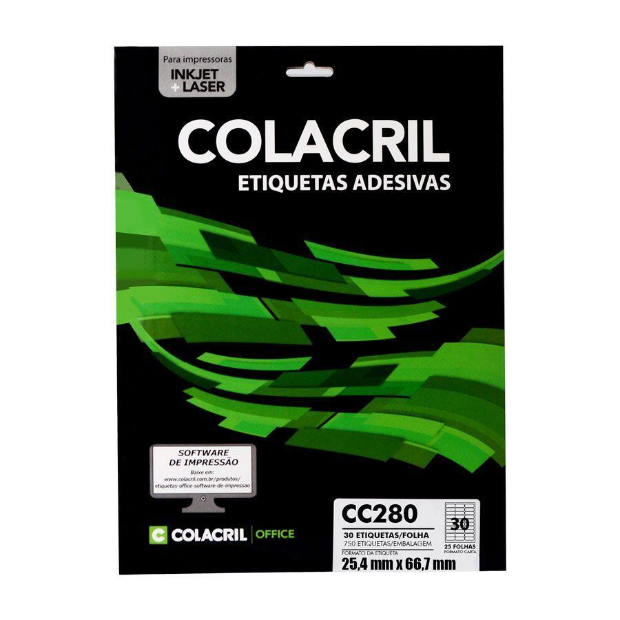 Etiqueta CC280 25,4mmx66,7mm 25fls - Colacril
