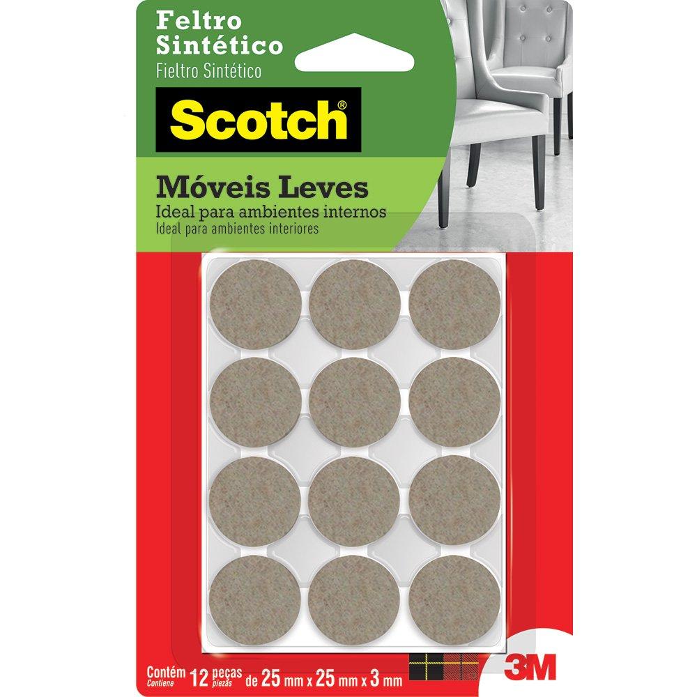Feltro adesivo marrom redondo 25x3mm Scotch 3M 12 UN