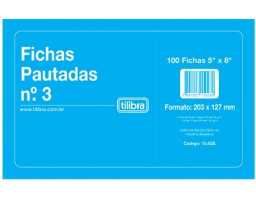 Ficha Pautada - Vários Tamanhos - Tilibra