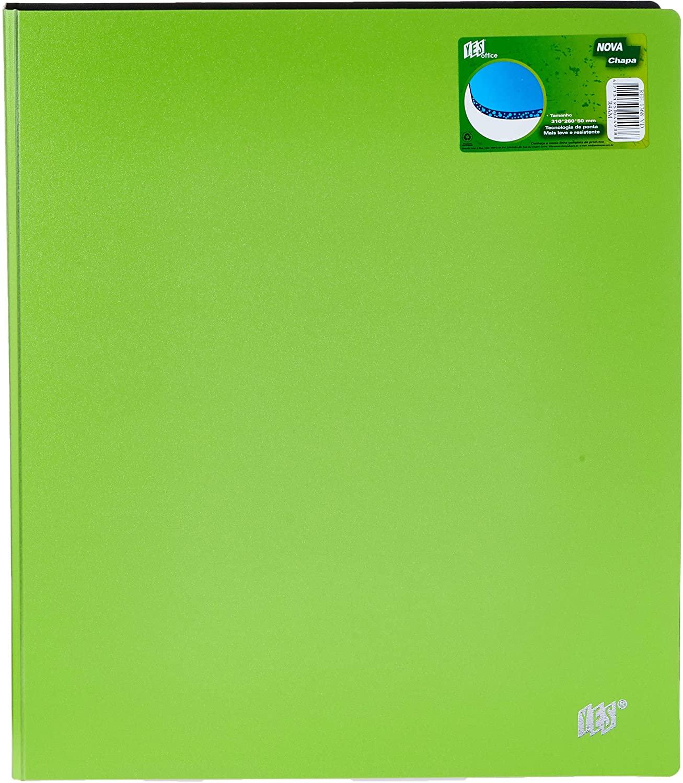 Fichário 4 Argolas A4, com Bolso Interno, Verde, Yes