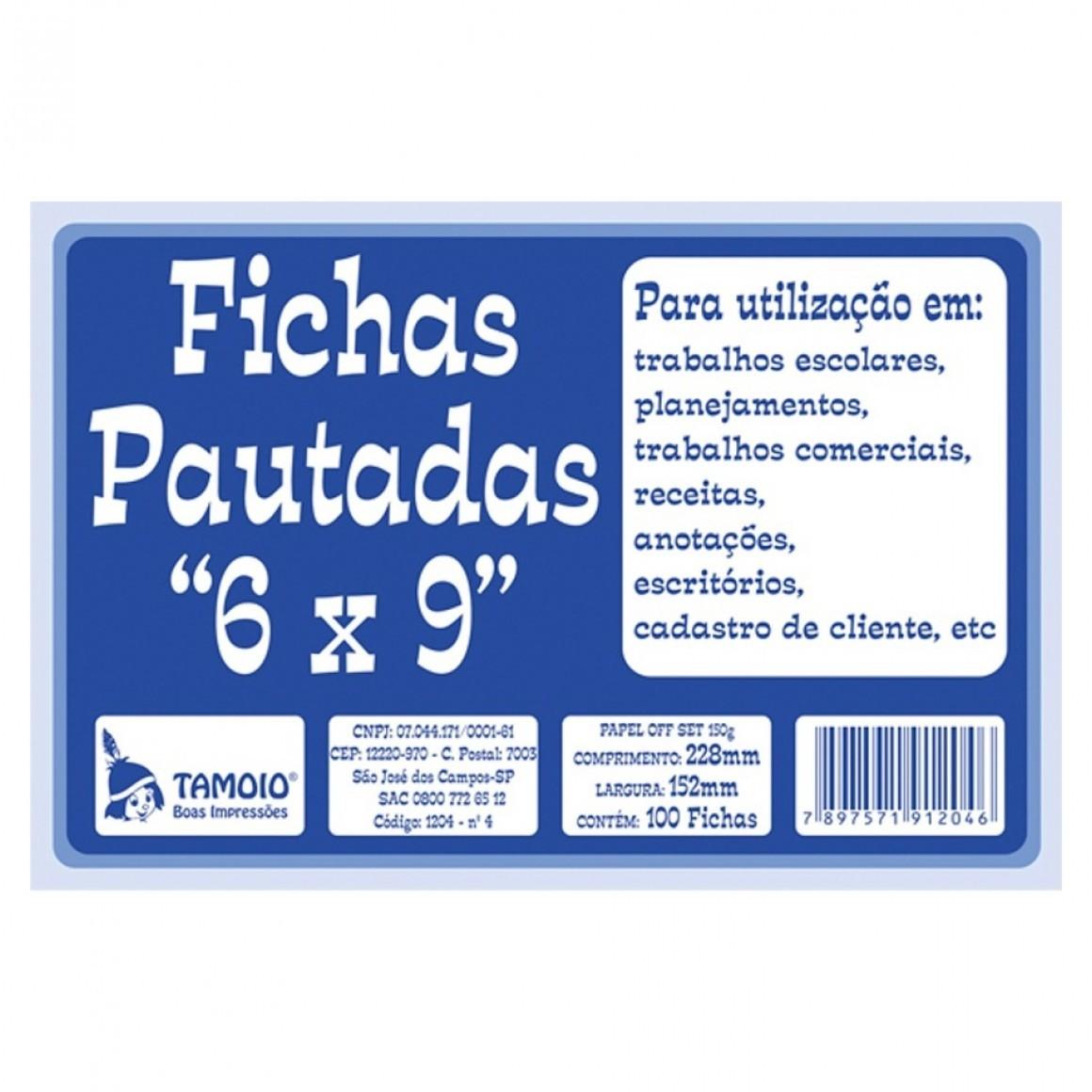 Fichas Pautadas 6x9 - Tamoio
