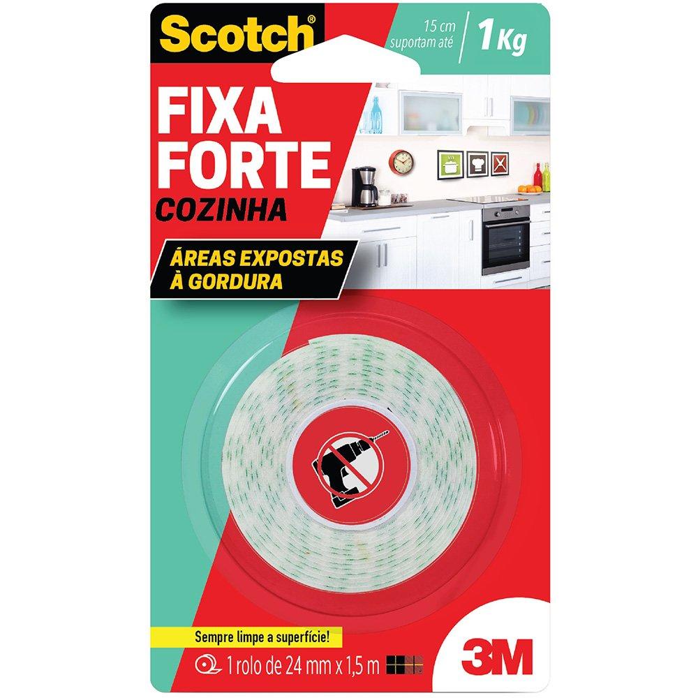 Fita adesiva dupla face Fixa Forte Cozinha 24mmx1,5m Scotch 3M