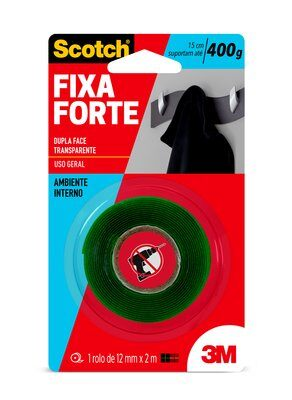 Fita Dupla Face 3M Scotch® Fixa Forte Transparente - 12 mm x 2 m