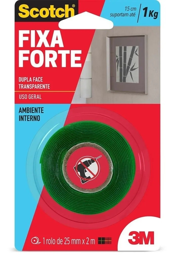 Fita Dupla Face Fixa Forte 24mm X 2m Scotch 3m Transparente