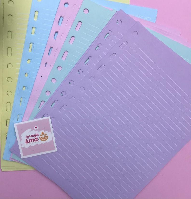 Folhas De Fichário Pautado Tamanho Colegial Papel Colorido Candy 90g Merci