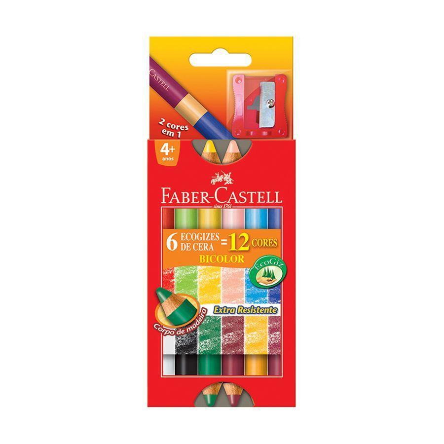 Giz de Cera Bicolor 12 Cores - Faber Castell