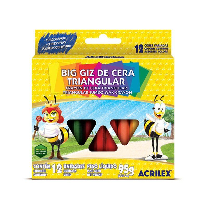 Giz de Cera BIG Triangular 12 Cores - Acrilex