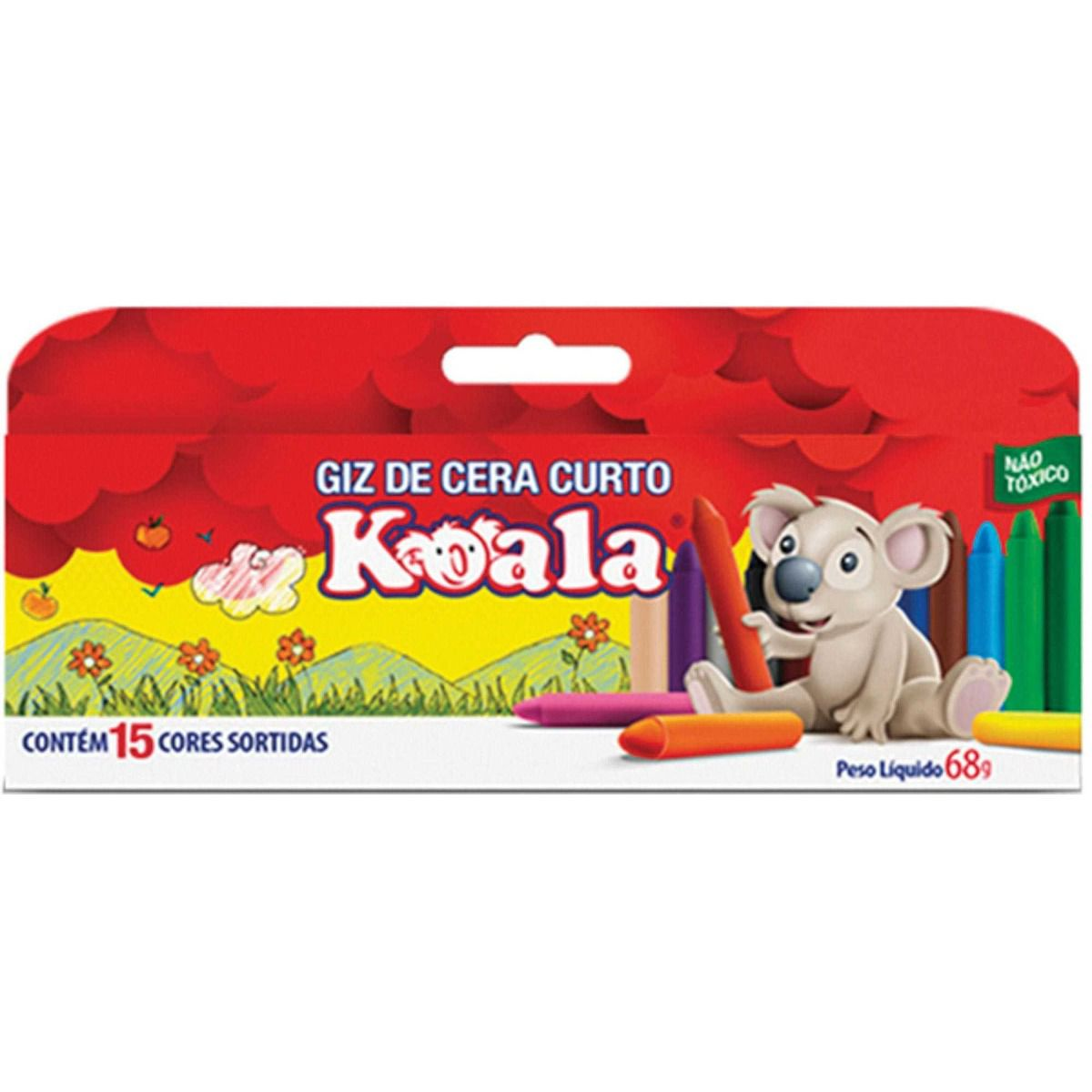 Giz de Cera Curto 15 Cores - Koala