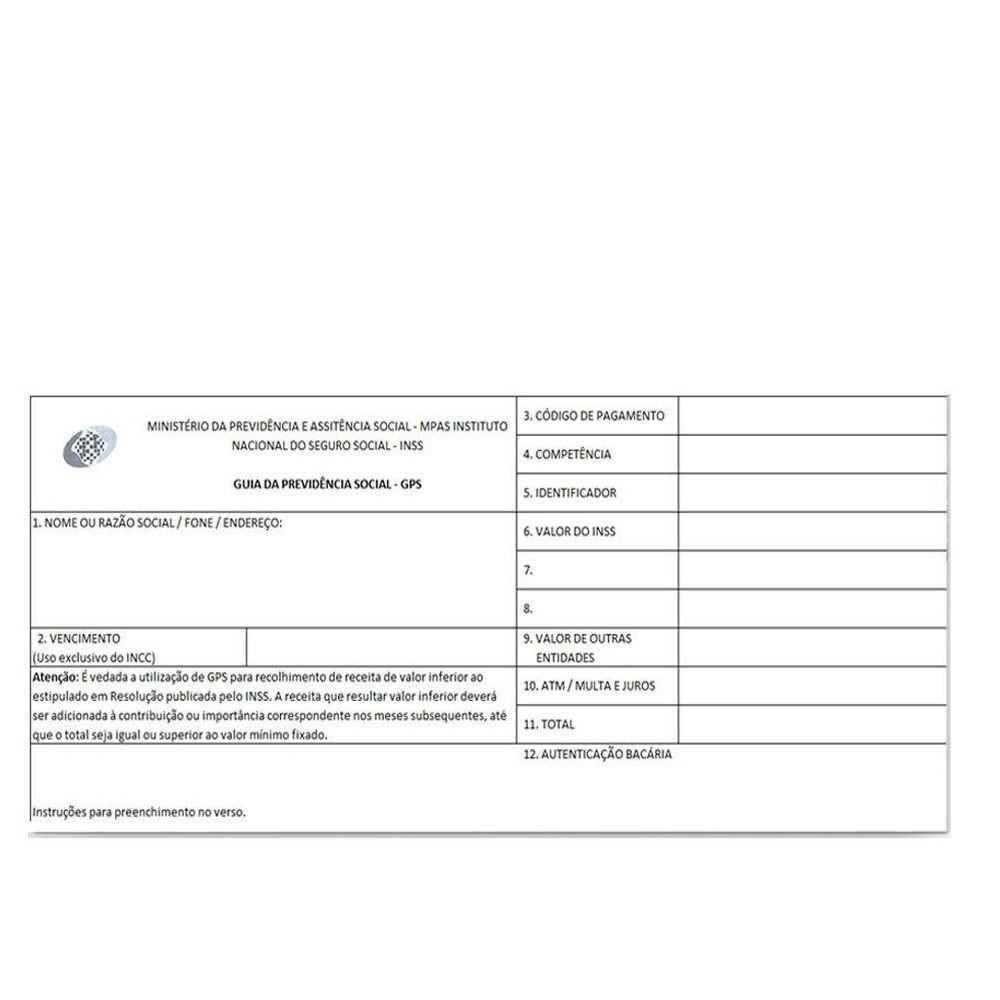 Guia de Previdência Social com Carbono - GPS - Tamoio