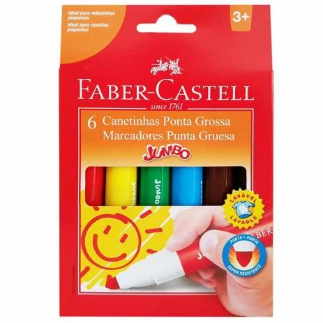 Hidrocor Jumbo Ponta Grossa 6 Cores - Faber Castell